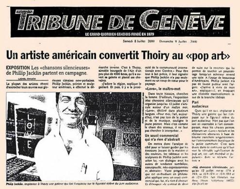 Article de presse paru les 8 et 9 juillet dans la tribune de Genève