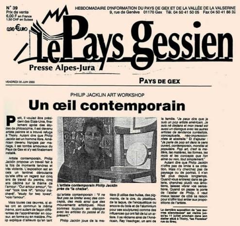 Article de presse paru le 30 juin 2000 dans le Pays Gessien