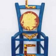 Chaise bleue - Bois peint - 68 x 30.5 x 25 cm