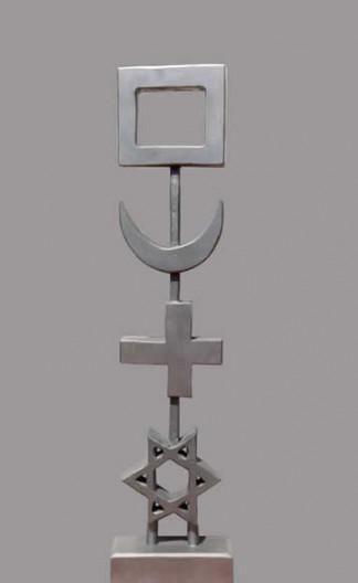 Clé argentée - Sapin peint - 114 x 27.5 x 12 cm