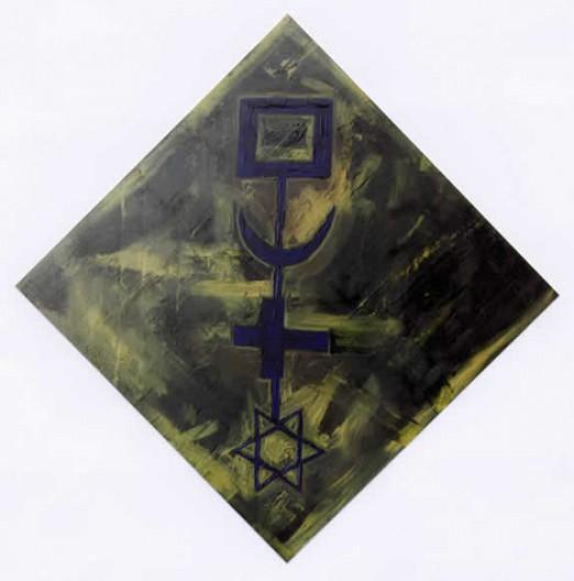 En tournant la clé (clé bleue fond vert) - 100 x 100 cm