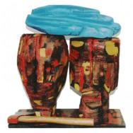 En mémoire des massacres Rwandais - Chêne peint - 51 x 49 x 20 cm